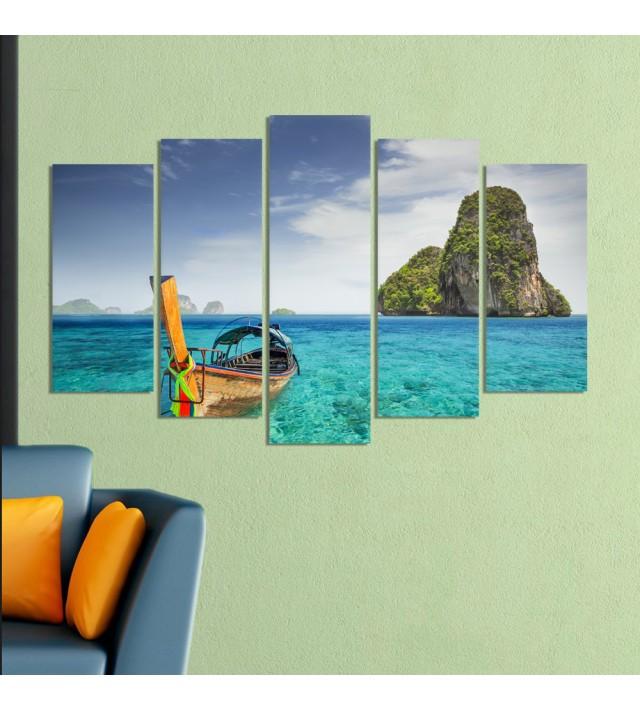Декоративeн панел за стена с морски пейзаж и лодка Vivid Home