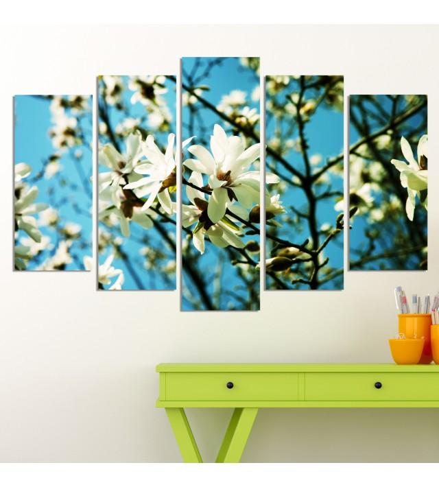 Декоративен панел за стена с  разцъфнало пролетно дръвче в бяло Vivid Home
