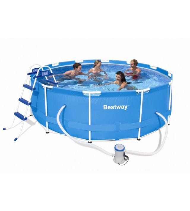 Сглобяем басейн Bestway Steel Frame Pools 56260, кръг